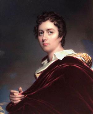 Den vackre Lord Byron. Porträtt av Henry Pierce Bone 1837 efter äldre förlaga av William Edward West.