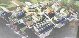 Archus arkitekter har gjort byggförslaget som de boende fått se. Närmare 80 lägenheter planeras i flera mindre hus på de tidigare tennisplanerna.