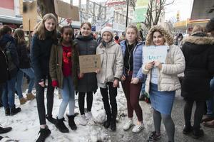 Adina Eriksson, Hana Kahsay, Johanna Flöjt, Liv-Marit Höfer, Mynta Pettersson och Sosin Ali Amer har hoppat över sina lektioner för att kunna vara med på protesten.