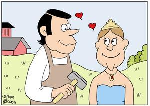 GRÄNSLÖS KÄRLEK. Smeden Tångfeldt från Ockelbo furstinnan Demidoff från Ryssland blev djupt förälskade i varandra och gifte sig med någon gång på 1800-talet, enligt en gammal sägen. Teckning: Ulf Ivar Nilsson