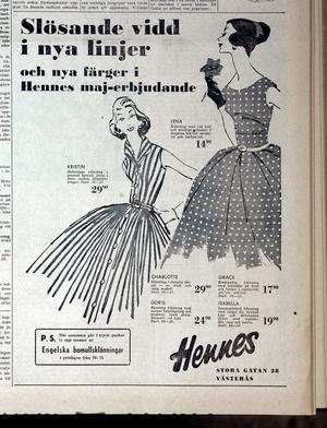Hennes reklam i en annons i vlt 1957, så här såg vårmodet för damer ut.