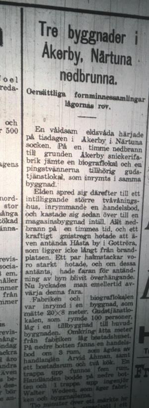 Brand i Åkerby och Närtuna, toppnyhet på födelsedagen 19.30.
