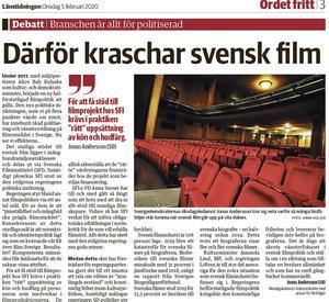 Den första artikel om svensk film publicerades i LT 5 februari.