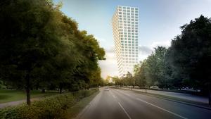 Vasatornet blir Västerås högsta byggnad. Den ska luta ut över Södra Ringvägen. Bild: BIG (Bjarke Ingels Group)