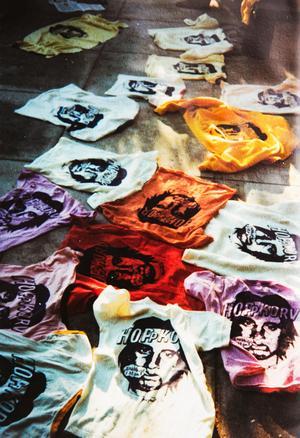 När Håkan Sannemo kom över till Jormas ställe i USA hade de tryckt upp t-shirts med Håkans ansikte på och texten Hoppkorv.Foto: Privat