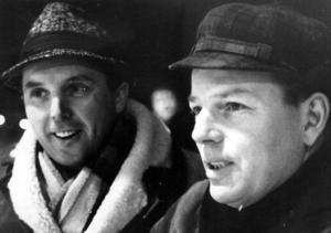 Stig Påfvels, till höger, tillsammans med lagkamraten Per-Agne Karlström som sedermera kom att bli legendarisk guldtränare för Leksand på 70-talet. Foto: DD:s bildarkiv
