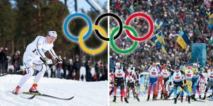 Charlotte Kalla under Kopparskidan på Lugnet i vintras och VM i skidskytte i Östersund. Foto: Henrik Montgomery/TT och Robert Henriksson/TT