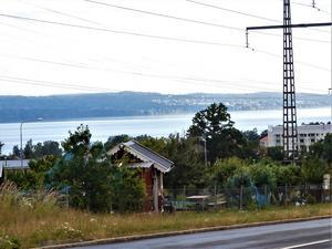 Morgon över kolonier på Ekhagen Jönköping. Vättern ligger stilla i morgonljuset. Bild: Michael Schön