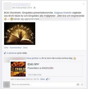 Skärmdump från Magnus Muhréns Facebook