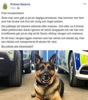 Foto: Skärmdump från Polisen Dalarnas Facebookkonto.