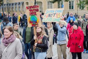 En bild från klimatmanifestationen på Stortorget i Örebro fredagen den 27 september. Örebroare  samlades till en gemensam protest.