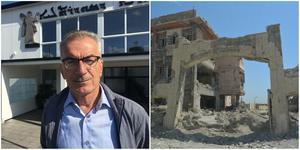 Faris Jajo utanför Assyriska kulturhuset i Hovsjö, där han berättat om IS skövling av de kristnas hem på Nineveslätten i irak. Foto: Torbjörn Granström