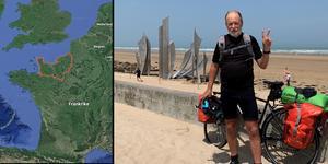 Sonny Fredriksson cyklade hela vägen från Leksand till Normandie trots en allvarlig motorcykelolycka några år tidigare. Foto: Privat.