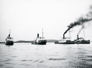 Höfding tillsammans med tre andra bogserbåtar vid ett senare tillfälle, 1932. Foto: SCA(publ)/www.bildhotellet.se  Bildnummer: C1728_04