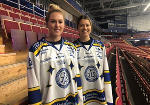 Samantha Hanson, andra säsongen i Leksand, och nyförvärvet Emma Woods, ser fram emot nedsläpp mot HV71 i Tegera Arena på fredagskvällen.