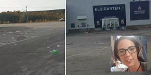 Frida Dahlgren såg ända från E4 hur skräpigt det var på parkeringen framför Arnäs köpcentrum.