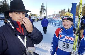 Aleksander Tichonov tillsammans med den ryska skidskytten  Albina Achatova . Hon testades positivt för dopning och stängdes av 2009.  Foto: Heiko Junge