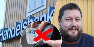 """Inför flytten till de nya lokalerna i Djurås slopar även Handelsbanken kontanterna. """"Det är lite av en ickeproblem tycker jag"""" säger kontorschefen Anders Rehn."""