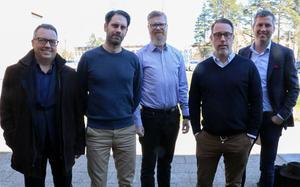 Göran Grahn, Svenskt näringsliv, längst till vänster presenterade den senaste konjunkturprngosen för Niklas Löfqvist, ekonomichef Bandi, Magnus Nyrén, inköpschef Bandi, Johan Lindmark, vd på Bandi och Karl Hulterström, Svenskt näringsliv.