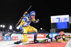 Sebastian Samuelsson tvingades till en straffrunda efter sitt liggskytte i Östersund. Foto: TT