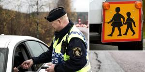 Johan Alm, ansvarig för länets trafikpoliser, övade med polisaspiranter under måndagen. Vid hastighetskontroll efter väg 850 miste en person körkortet och en skolbuss körde 28 km/h för fort. Bilden är ett montage.
