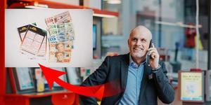 Svenska Spels vinnarambassadör Pierre Jonsson ska nu försöka få fatt i den person som lämnade in den rad på Eurojackpot på ICA Nära Sellnäs som gav 6,5 miljoner kronor i vinst på fredagskvällen. Foto: Svenska Spel. Bilden är ett montage.