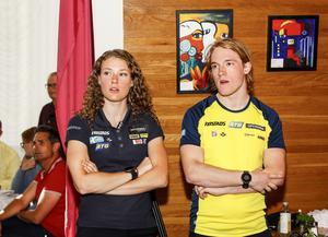 Hanna Öberg och Sebastian Samuelsson var på plats under OS-vakan på Arctura i Östersund. Foto: Per Danielsson / TT /