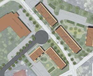 Tvärs genom bilden ses den befintliga gång- och cykelvägen. Snett från vänster kommer den nya vägen med vändplanen som förlängs från Lundbygatan. Till höger, strax utanför bild, väntas Liljevalchsgatan ansluta till området. Parkeringar ses i bildens övre högra hörn. Skiss: Boklok