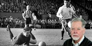 Djurgårdens målvakt Arne Arvidsson och VSK-ikonen Ove Dansson under en match 1956.