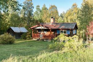 Timrat fritidshus i Bingsjö. I stugan finns flertalet eldstäder och perfekt för den som söker en rofylld plats med naturen inpå knuten. Foto: Eric Böwes.