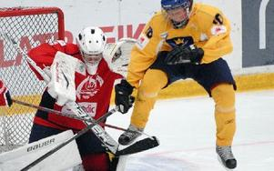 Hedemorakillen Jesper Boqvist har varit en av Dalarnas bästa spelare under gruppspelet i Mora. Foto: Gunnar Bäcke/DT
