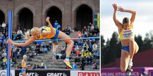 Erika Kinsey under en tävling i Stockholm och Emelie Nyman Wänseth på U23-EM i Gävle i år. Bilderna är från TT.