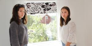 """Mimmi Lenander, till höger, har sitt rum precis ovanför hundgården, och hörde genom det öppna fönstret en man säga """"ta den lilla, den är ute"""". Till vänster kompisen Frida Nylén som också var där vid tillfället."""