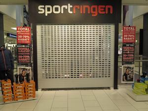 På torsdagen var Sportringen stängd. Planen är att sportaffären stänger för gott i slutet av mars.