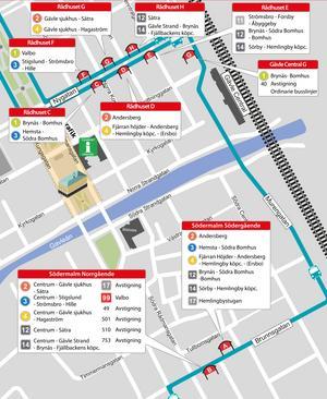 Busslinjerna 1, 2, 3, 4, 11, 12 och 14 får alla tillfälliga hållplatser på Nygatan. Även linje 17 samt UL:s linje 49 och 99 berörs. Från och med måndag den 12 augusti går bussarna som vanligt igen. Illustration: X-trafik