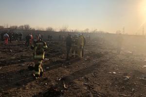 Bråte efter flygkraschen utanför Irans huvudstad Teheran i onsdags.