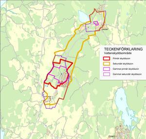 Den gula linjen markerar de nya gränserna för Gorrans vattenskyddsområde. Innanför den röda linjen är skyddreglerna som strängast. Karta: Nynäshamns kommun