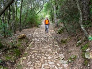 För Eyal och Kerstin är det vandring som gäller. Här på stenbelagda stigar i bergskedjan Tramuntana på Mallorca. Bild: Kerstin Krafft