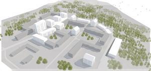 Så här kan Västra Blombacka komma att se ut i framtiden, där de nya vita husen kompletterar de befintliga grå fastigheterna.