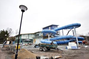 Parkbadet i november 2018, en månad innan invigningen med de nya rutschkanorna.