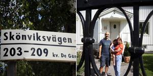 Maria Yungman och Keran Yungman med dottern Holly bor på Skönsviksvägen i Stureby. De hade inte en aning om att Skönsvik är en ort i Medelpad.