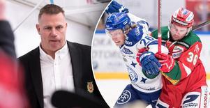 Till vänster: Moras tränare Mats Lusth. Till höger:  Leksands Patrik Norén och Moras Jason Akeson i en duell. Bild: Daniel Eriksson/Bildbyrån.