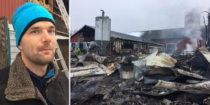 Daniel Magnusson, lantbrukare i Oviken. En maskinhall totalförstördes och ladugården brann i taket och en av väggarna så alla korna fick evakueras.
