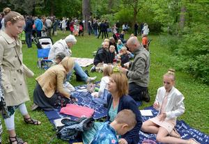 Efter skolavslutningen blev det picknick i gröngräset för elever och föräldrar.