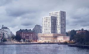 Ett av gestaltningsförslagen för det planerade hotellet vid Marenplan. Skiss: Södertälje kommun