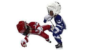 Hockeyspelare med stora huvuden i 3 on 3 NHL arcade.