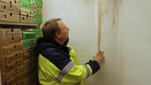 Mikael Backström inspekterar en av fuktskadorna.