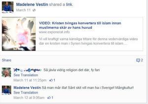 Skärmdump från Facebook.