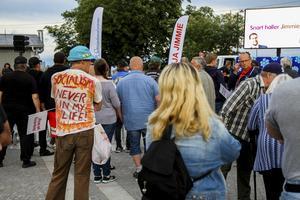 Många hade kommit för att lyssna på Jimmie Åkessons tal.