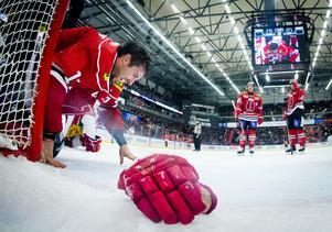 Aaron Palushaj bröt fotleden i matchen mot Mora den 19 januari. Arkivfoto: Johan Bernström/Bildbyrån